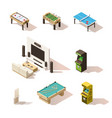 isometric low poly games set vector image