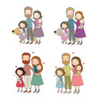 a happy family cute cartoon dad mom daughter vector image