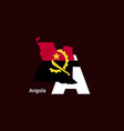 angola initial letter country with map and flag vector image vector image