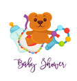 bashower greeting card for boy girl birth vector image