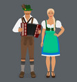 bavarian man in lederhosen with accordion and girl vector image
