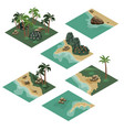 beach landscape isometric tile set vector image