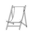 beach sunchair isolated in black and white vector image vector image