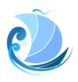 blue sailboat on wave vector image vector image