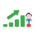businessman character standing on sales bar graph vector image