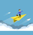 businessman flies on a paper plane in sky vector image