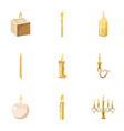 candles flames icons set cartoon style vector image