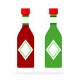 chili sauce and pesto sauce in bottles flat vector image vector image