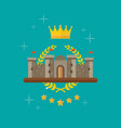 crown and castle with monarch symbols vector image vector image