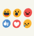 cute cartoon face emotion mood icons vector image