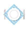 Cutlery top view Blank White Plate fork and knife vector image vector image