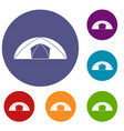 dome tent for camping icons set vector image vector image