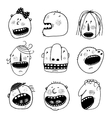 Doodle Outline Cartoon People Faces Heads Set vector image vector image
