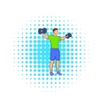 Dumbbell lateral raises icon comics style vector image vector image