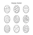 Easter Eggs Decorating Outline Icons Set vector image vector image