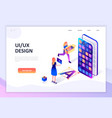 flat design isometric concept ux ui design vector image vector image