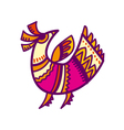 folk style pink and yellow bird vector image vector image
