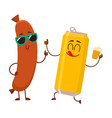 funny beer can and frankfurter sausage characters vector image vector image