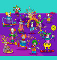 funny circus clowns cartoon characters group vector image vector image