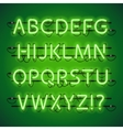 Glowing Neon Lime Green Alphabet vector image vector image