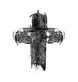 hand drawn christian cross in grunge style design vector image