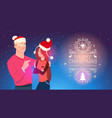 happy man and woman wearing santa hats christmas vector image vector image