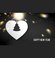 heart simbol with fir tree on black background vector image