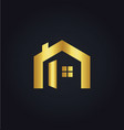 house icon gold logo vector image vector image