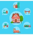 House with rooms and furniture vector image vector image