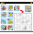 jigsaw puzzles with fish vector image vector image
