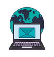 laptop and email world symbols vector image vector image