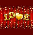 love heart gold foil glitter on red a curtain vector image vector image