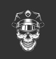 monochrome policeman skull in police cap vector image vector image