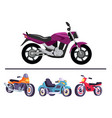 motorized bicycles collection scooter motorbikes vector image vector image