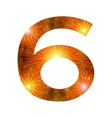 Number of orange firework six vector image