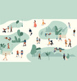 people in park trendy men and women crowd walking vector image vector image