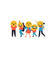 people with funny yellow face icon vector image