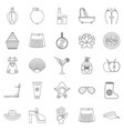 petticoat icons set outline style vector image