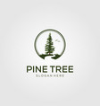 pine tree with river logo vector image vector image