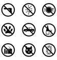 prohibition icon set vector image vector image