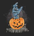 pumpkin zombie hand halloween artwork vector image vector image