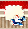 santa claus and the airplane over red background vector image vector image