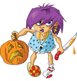 scary halloween girl vector image vector image