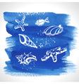 set ocean decoration on watercolor background vector image