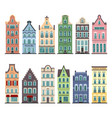 set of 12 amsterdam old houses cartoon facades vector image vector image