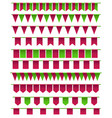 set of cartoon flag garlands isolated on white vector image