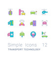 set simple line icons transport technology vector image vector image