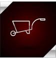 silver line wheelbarrow icon isolated on dark red