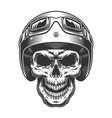 skull in moto helmet vector image vector image