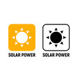 solar energy panel icon solar power battery light vector image vector image